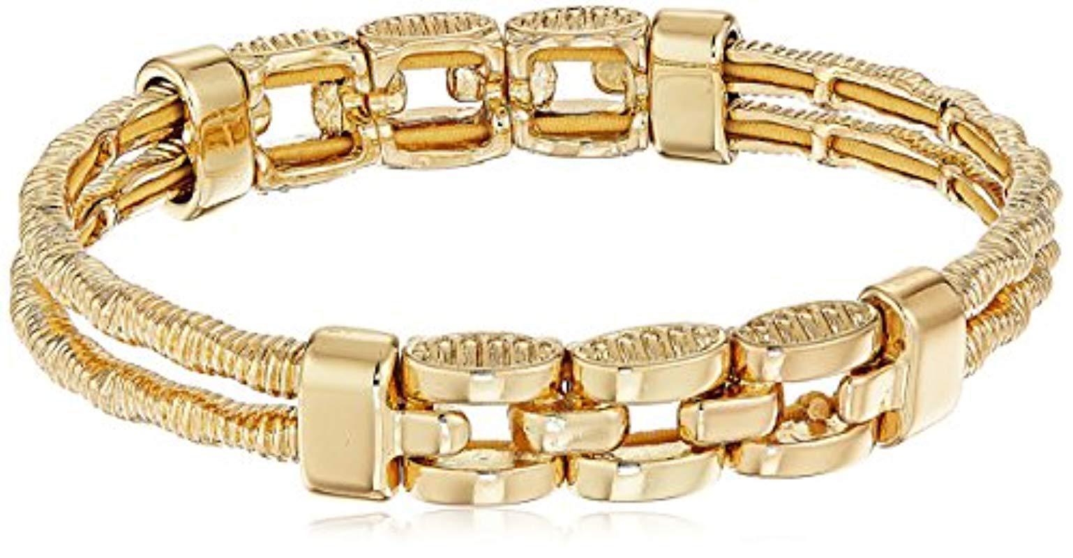 Napier Women S Metallic Gold Tone Textured Stretch Bracelet
