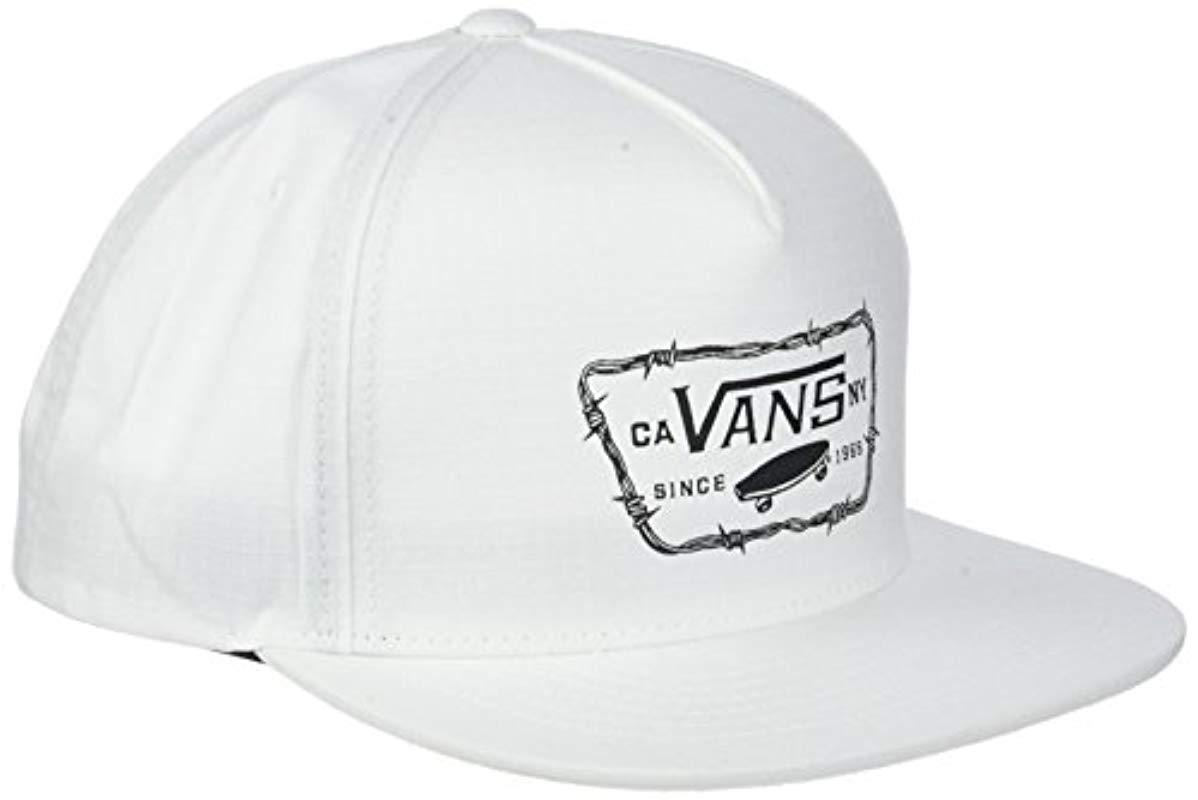 a3b9f1baa64f19 Vans Full Patch Barbed Snapback Baseball Cap in White for Men - Lyst