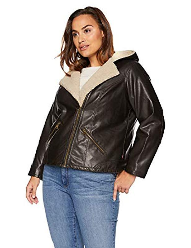 5079cb5a4bd Lyst - Levi S Plus Size Faux Leather Sherpa Lined Hooded Moto Jacket ...