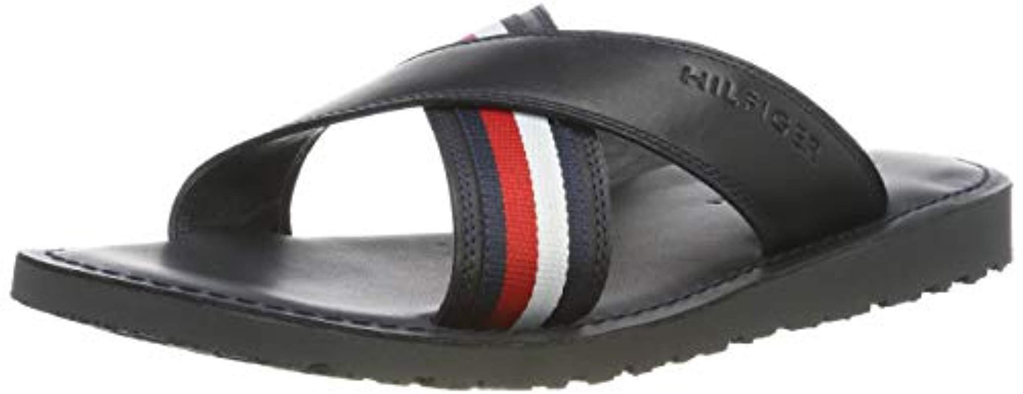 d0c6bf82f91d Tommy Hilfiger Criss Cross Leather Sandal Flip Flops