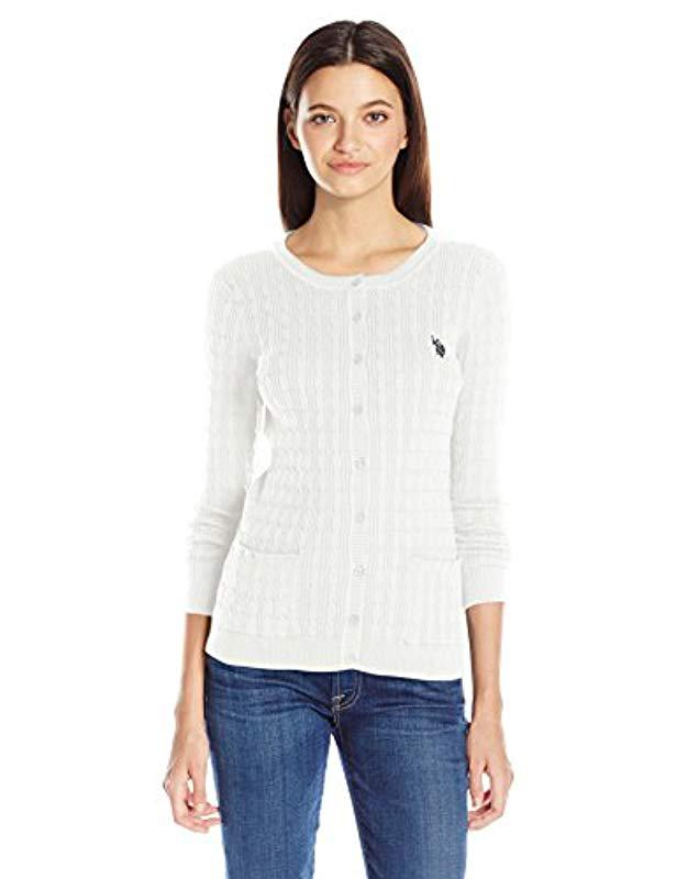 Lyst Us Polo Assn Juniors Solid Cable Knit Cardigan In White