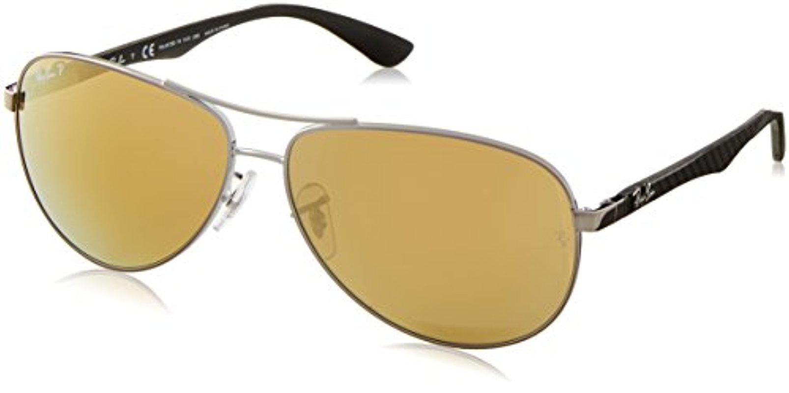 8733fabd6cf Lyst - Ray-Ban Carbon Fibre - Shiny Gunmetal Frame Brown Mirror Gold ...