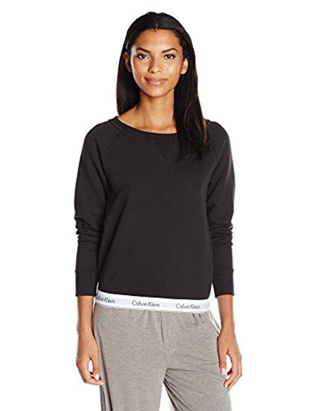 b499a0b6d3 Lyst - Calvin Klein Modern Cotton Long Sleeve Sweatshirt in Black ...