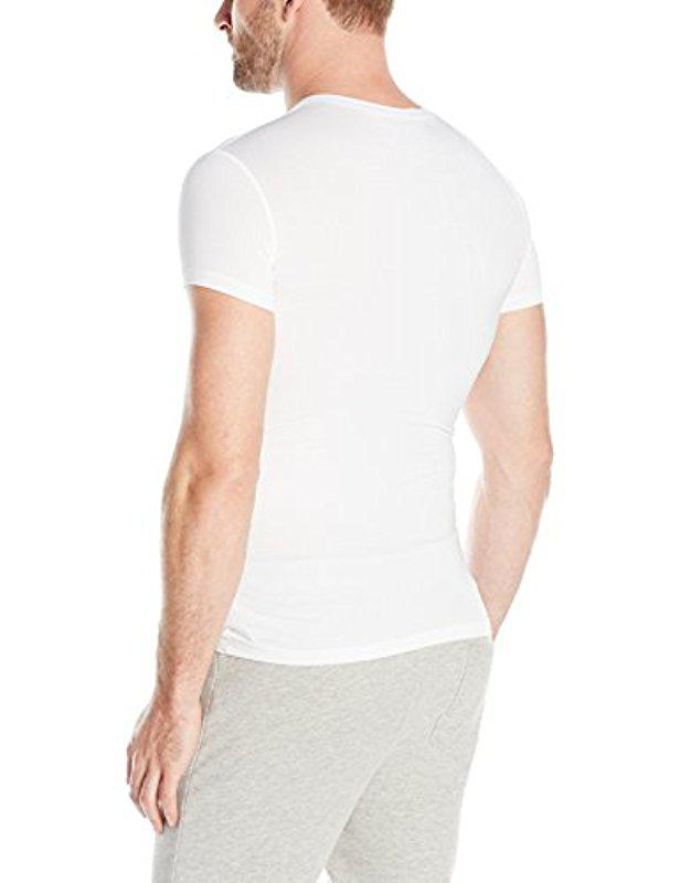 For Modal Stretch Neck V Shirt White Lyst T Emporio In Men Armani ARqwaxvt