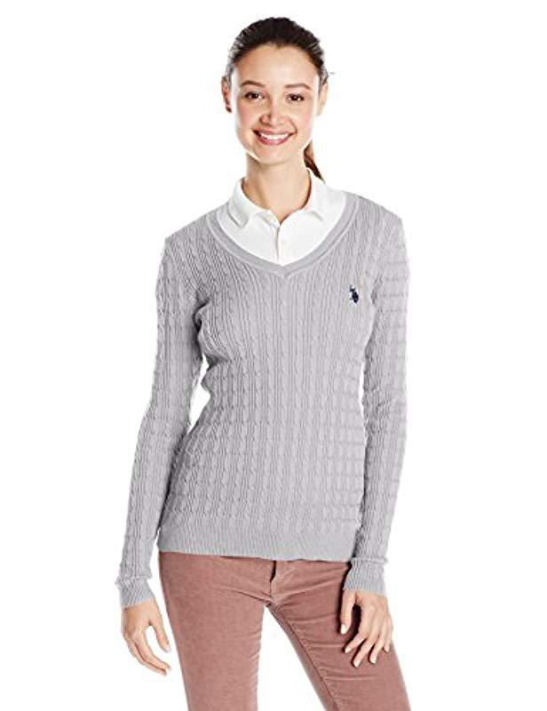 Lyst Us Polo Assn Juniors Cable Knit V Neck Pullover Sweater