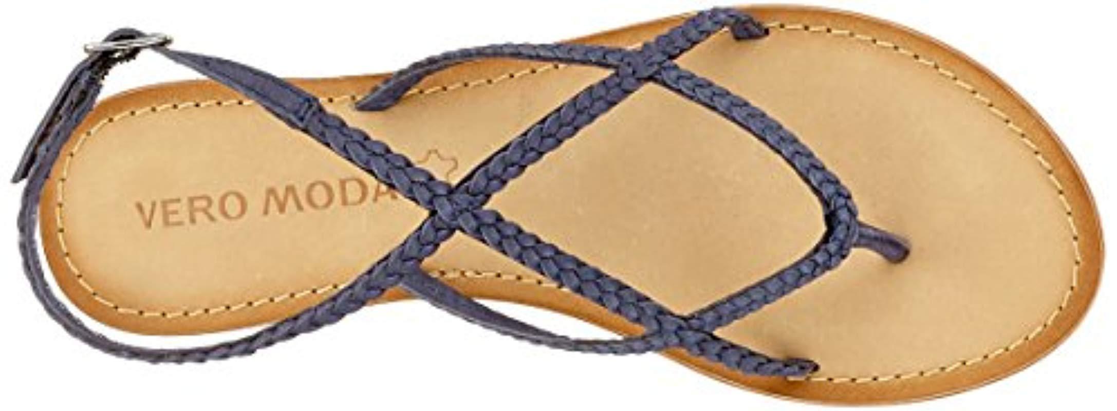 e172a5c0997 Vero Moda Vmbeta Leather Sandal Ankle Strap in Blue - Lyst