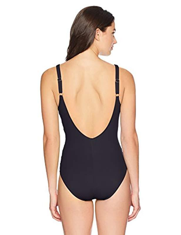 d19d56223194b Lyst - Gottex Draped Panel Sweetheart Square Neck One Piece Swimsuit in  Black