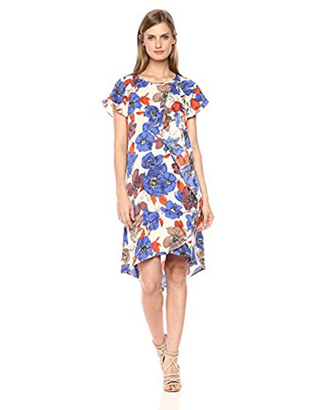 Lyst - Adrianna Papell Printed Cdc Corkscrew Drape in Blue