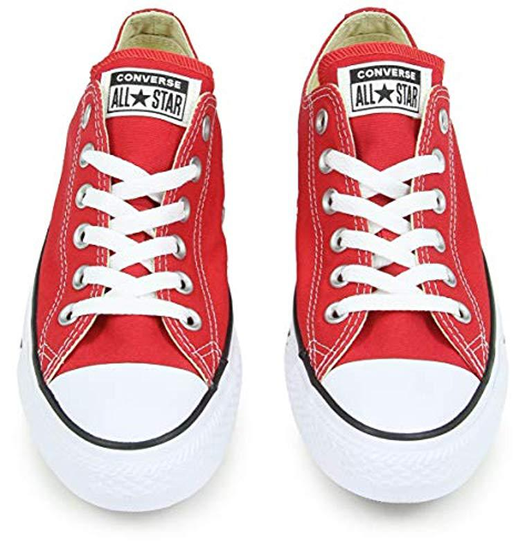 463ac164cc69 Converse - Red S Chuck Taylor All Star Ox Canvas Trainers - Lyst. View  fullscreen