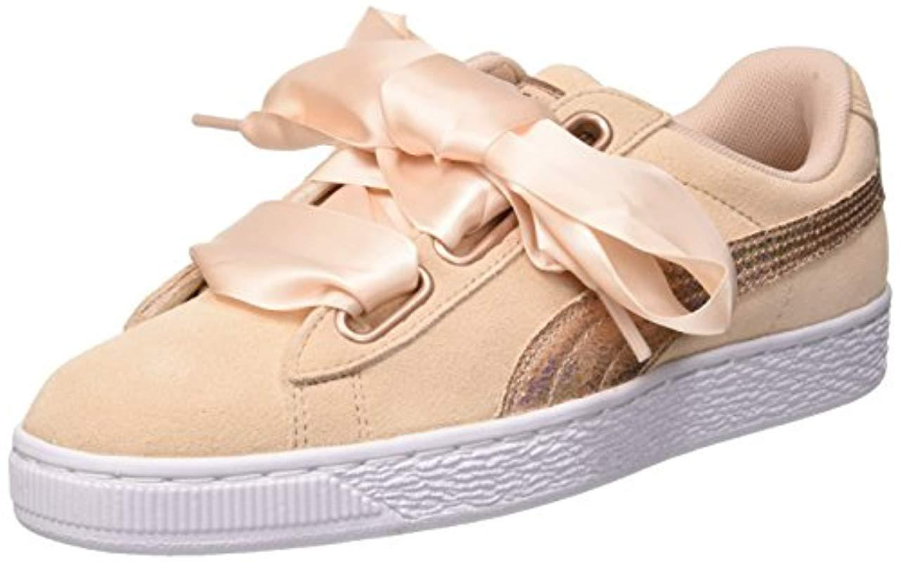 79070ce23aa36d PUMA Suede Heart Lunalux Trainers in Natural - Save 52% - Lyst