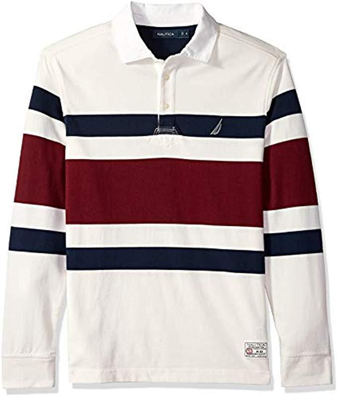 6049fa8c Nautica Striped Heavy Weight Jersey Long Sleeve Polo Shirt for Men ...