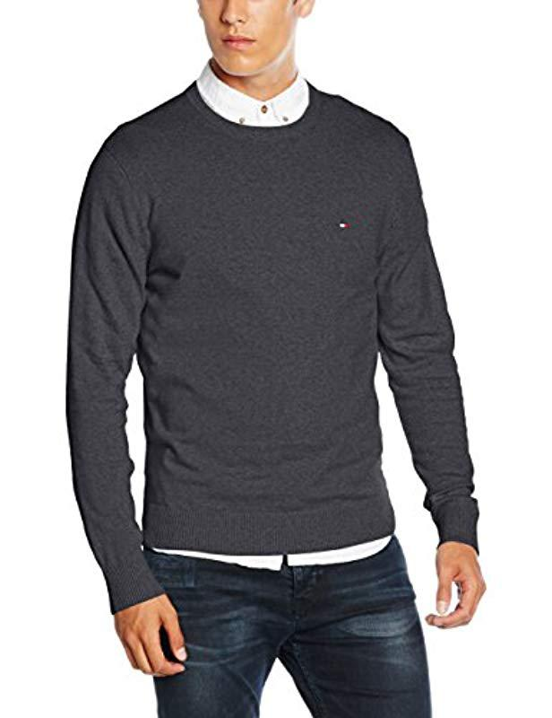 Tommy Hilfiger Pima Ctn Cashmere C-nk Cf Jumper in Gray for Men - Lyst 90ebb4bf17f