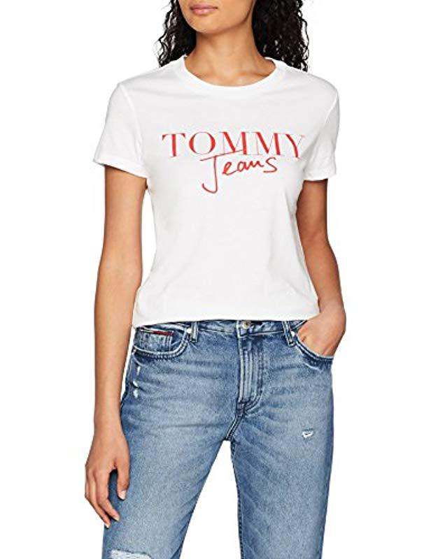 fa404987 Tommy Hilfiger. Women's White Script Logo Short Sleeve Crew Neck T-shirt