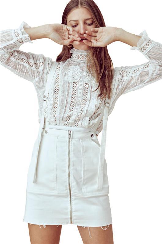ebea64b6ba Lyst - For Love   Lemons Monika Overalls Mini Skirt In White Denim ...
