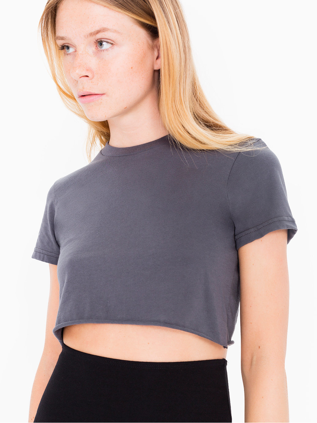 American Apparel Fine Jersey Short Sleeve Cropped T Shirt