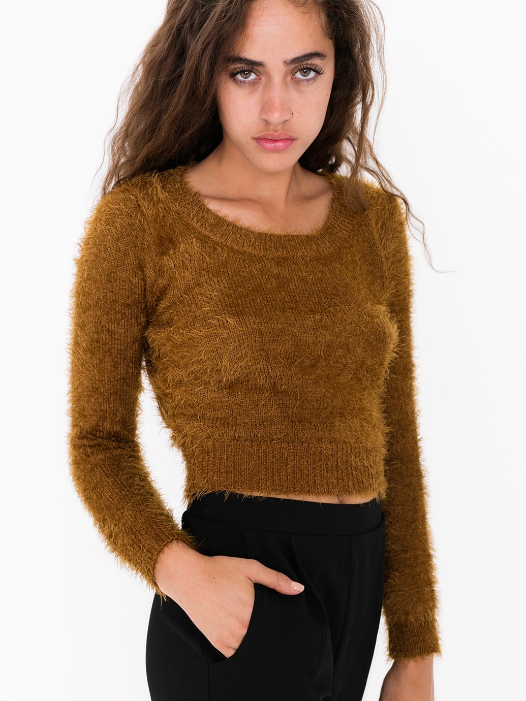 Cropped Fuzzy Sweater