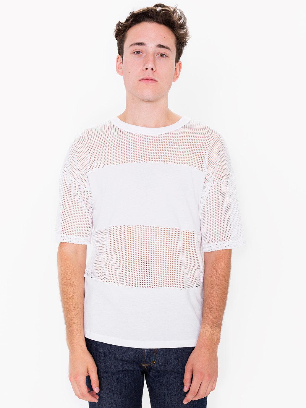 American apparel waffle mesh combo shirt in white for men for American apparel mesh shirt