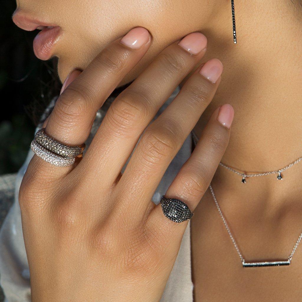 3a100b9511705a ... 14kt White Gold Black Diamond Cushion Pinkie Ring - Lyst. View  fullscreen