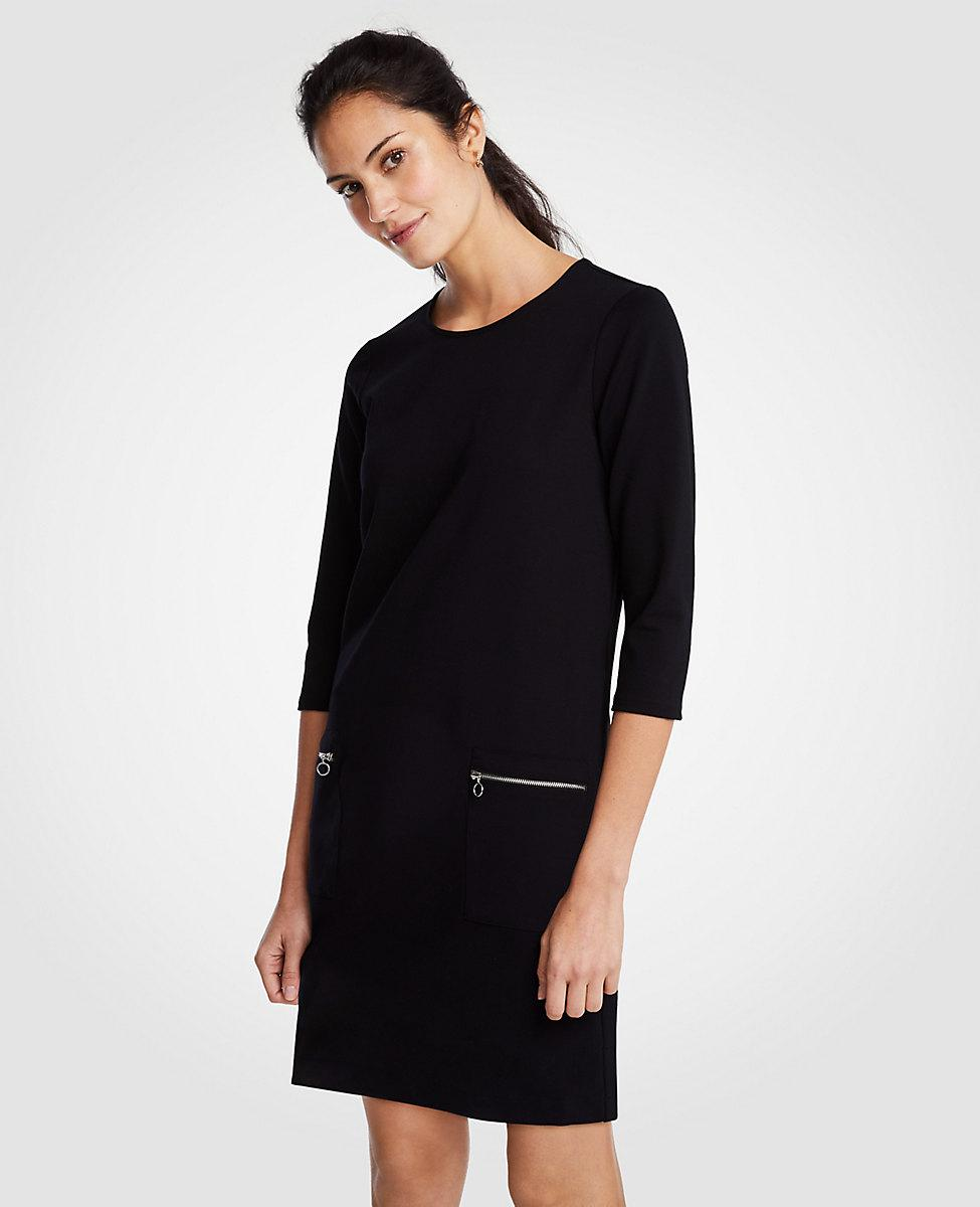 Lyst - Ann Taylor Zip Pocket Ponte Shift Dress in Black