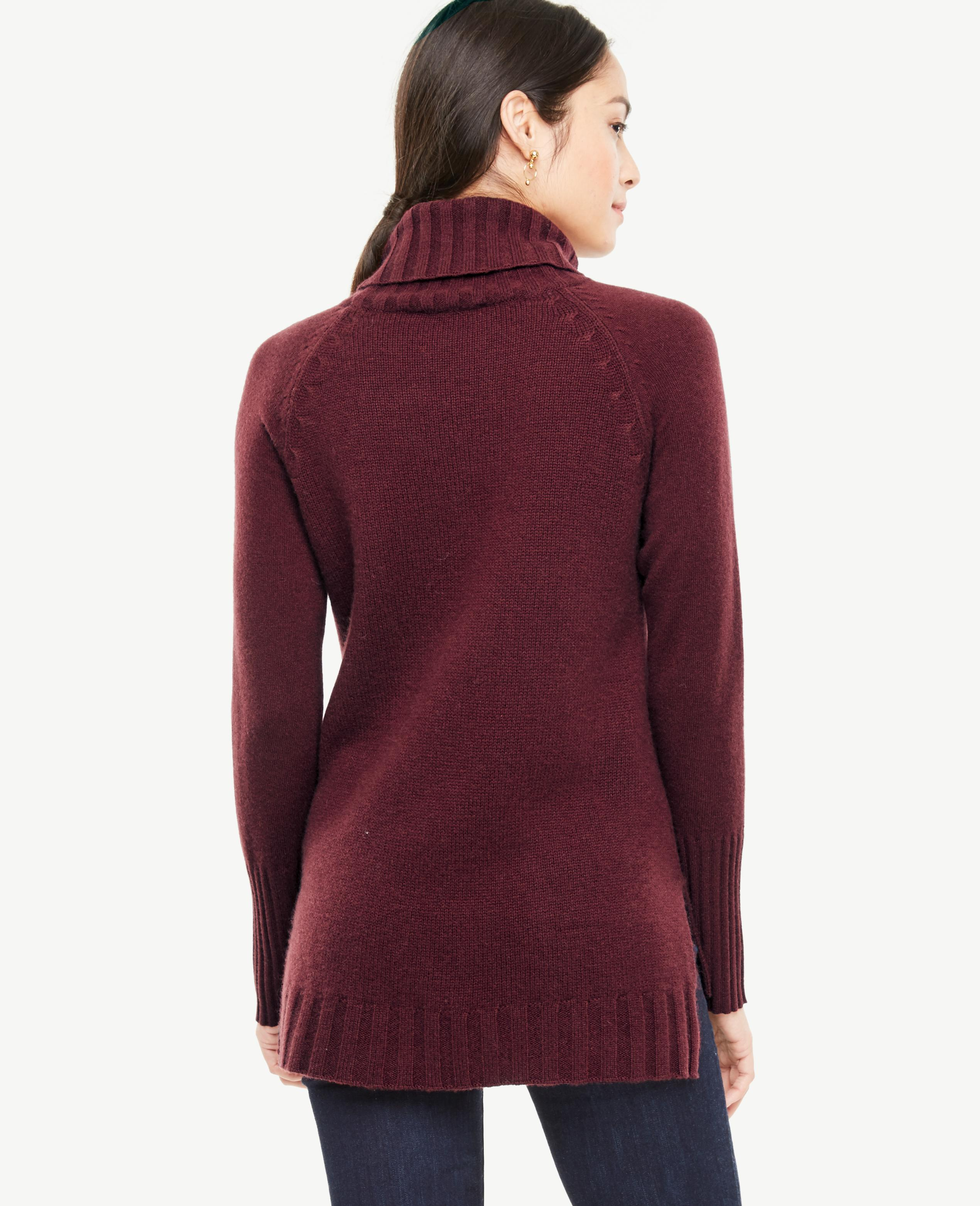 Ann taylor Cashmere Turtleneck Tunic Sweater in Red   Lyst