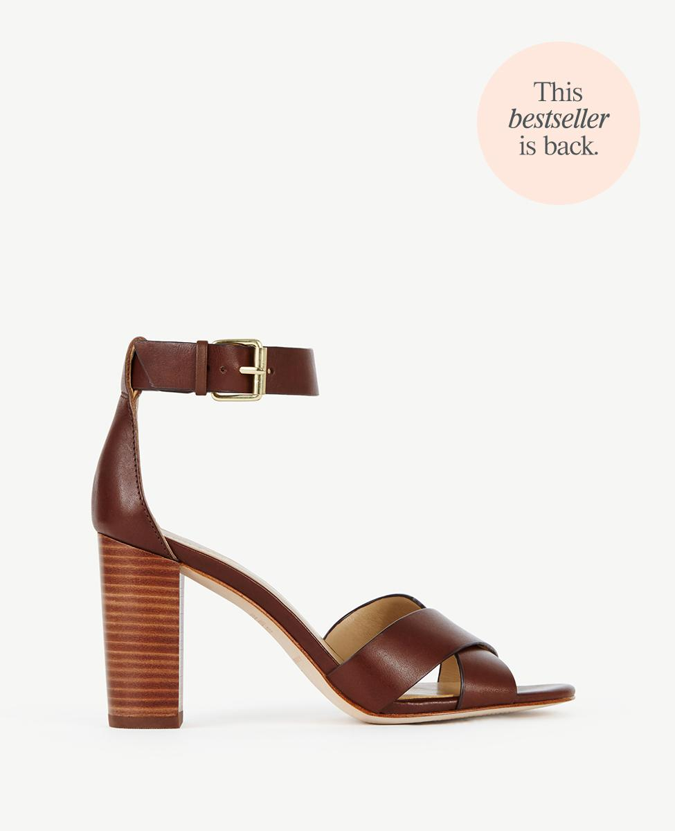 Lyst Ann Taylor Gigi Leather Block Heel Sandals In Brown