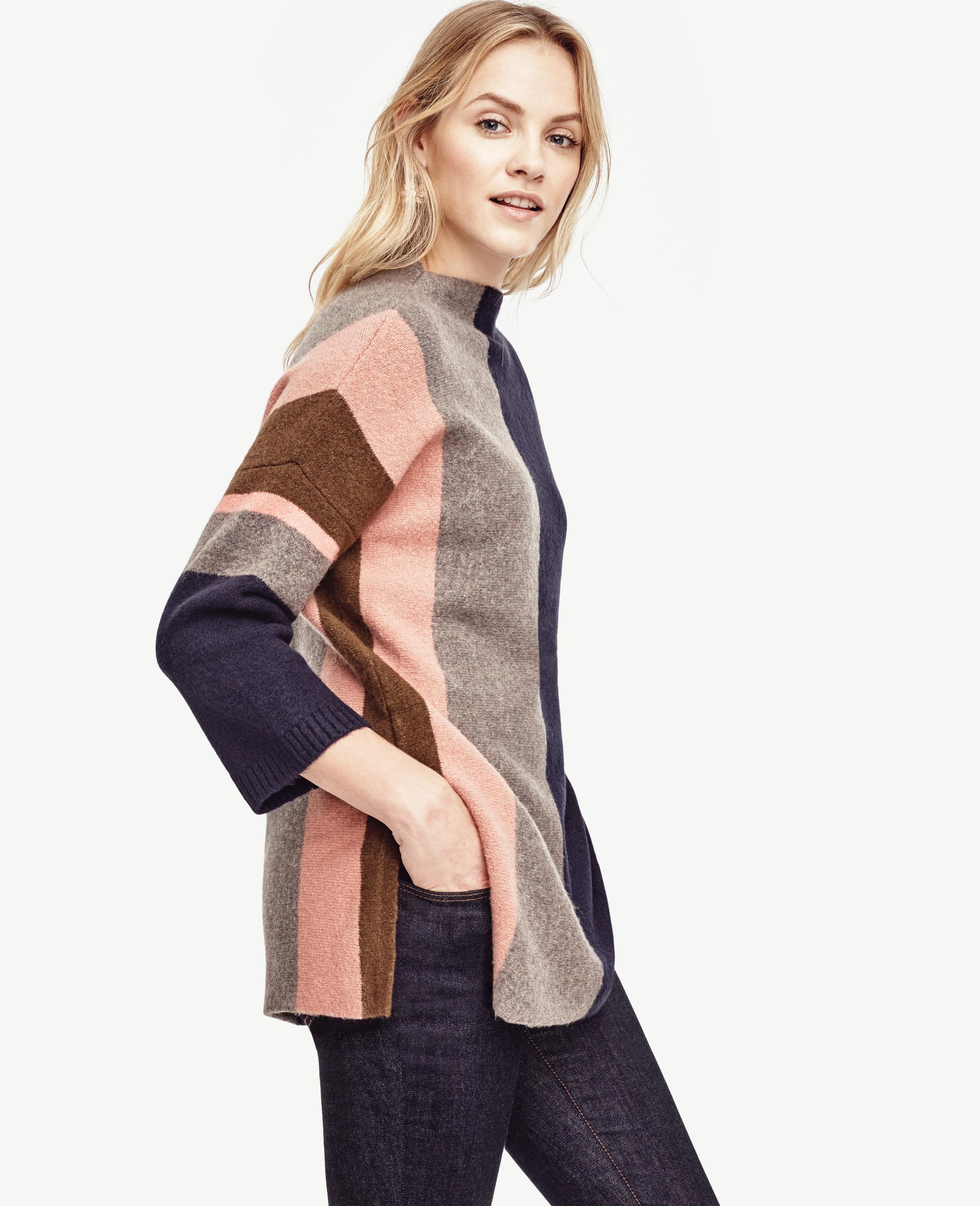 Ann taylor Colorblock Oversize Tunic Sweater in Blue | Lyst