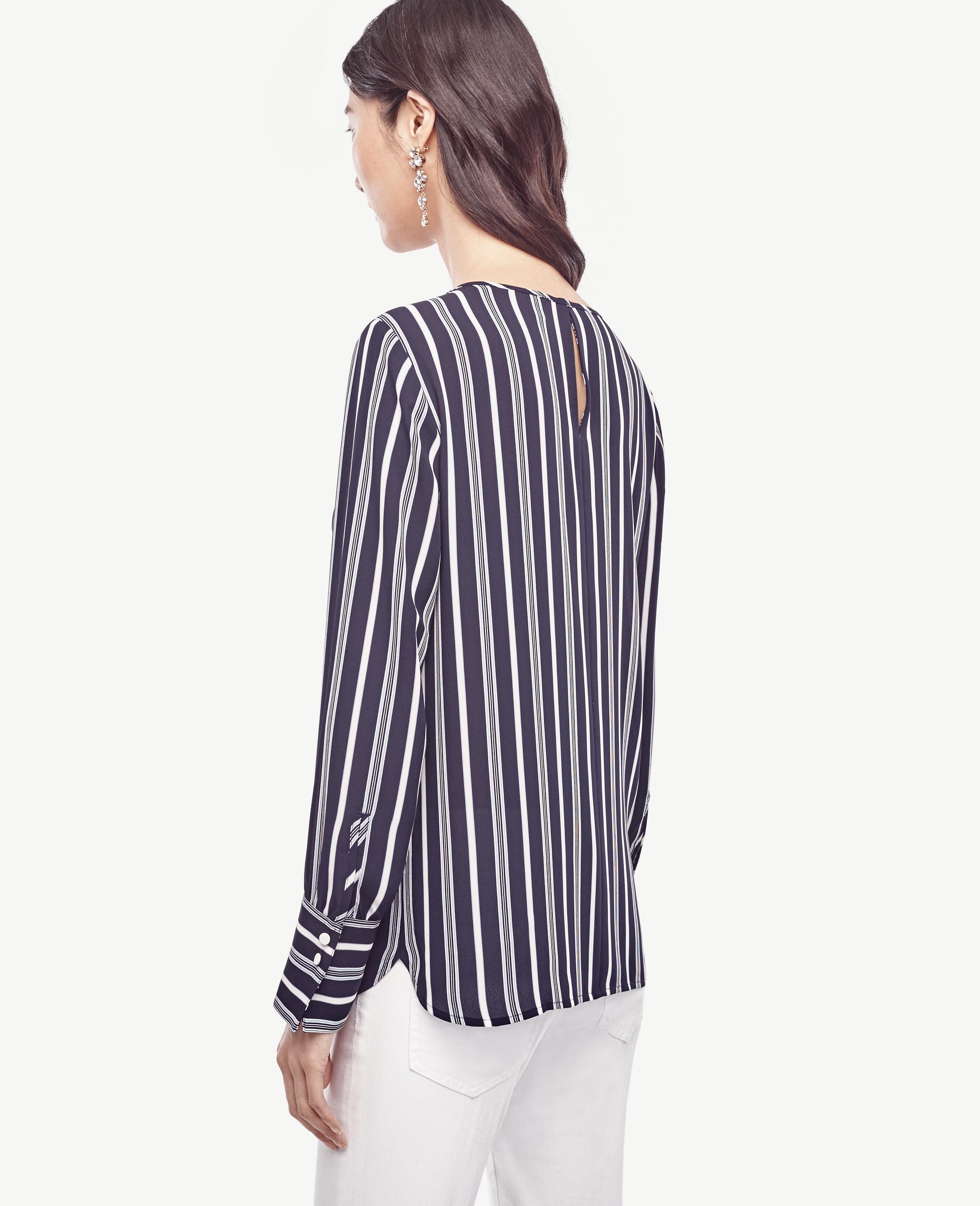Lyst ann taylor striped wide cuffed blouse in blue for Ann taylor loft fashion island