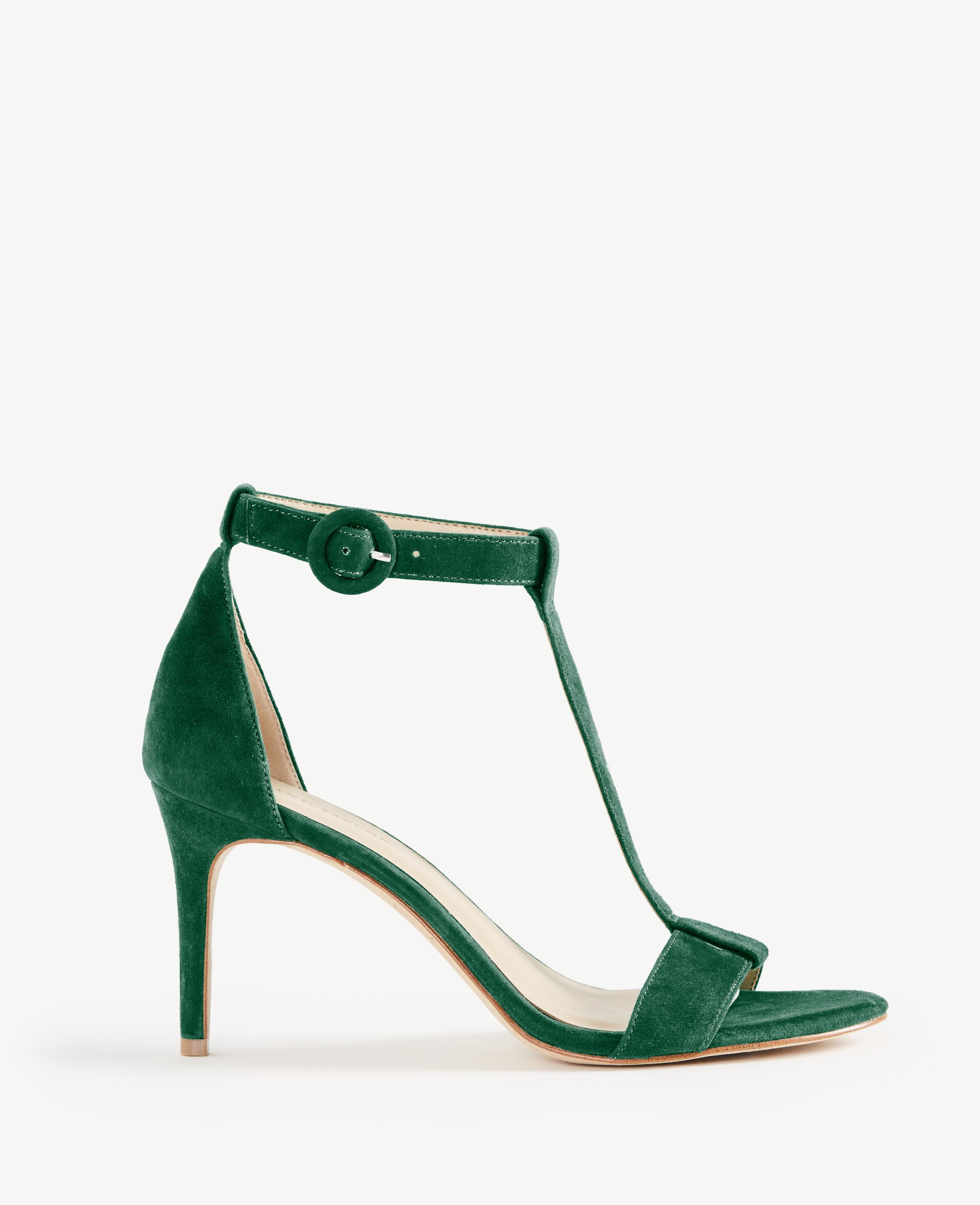 c9dba604df99 Lyst - Ann Taylor Demi Suede T-strap Sandals in Green