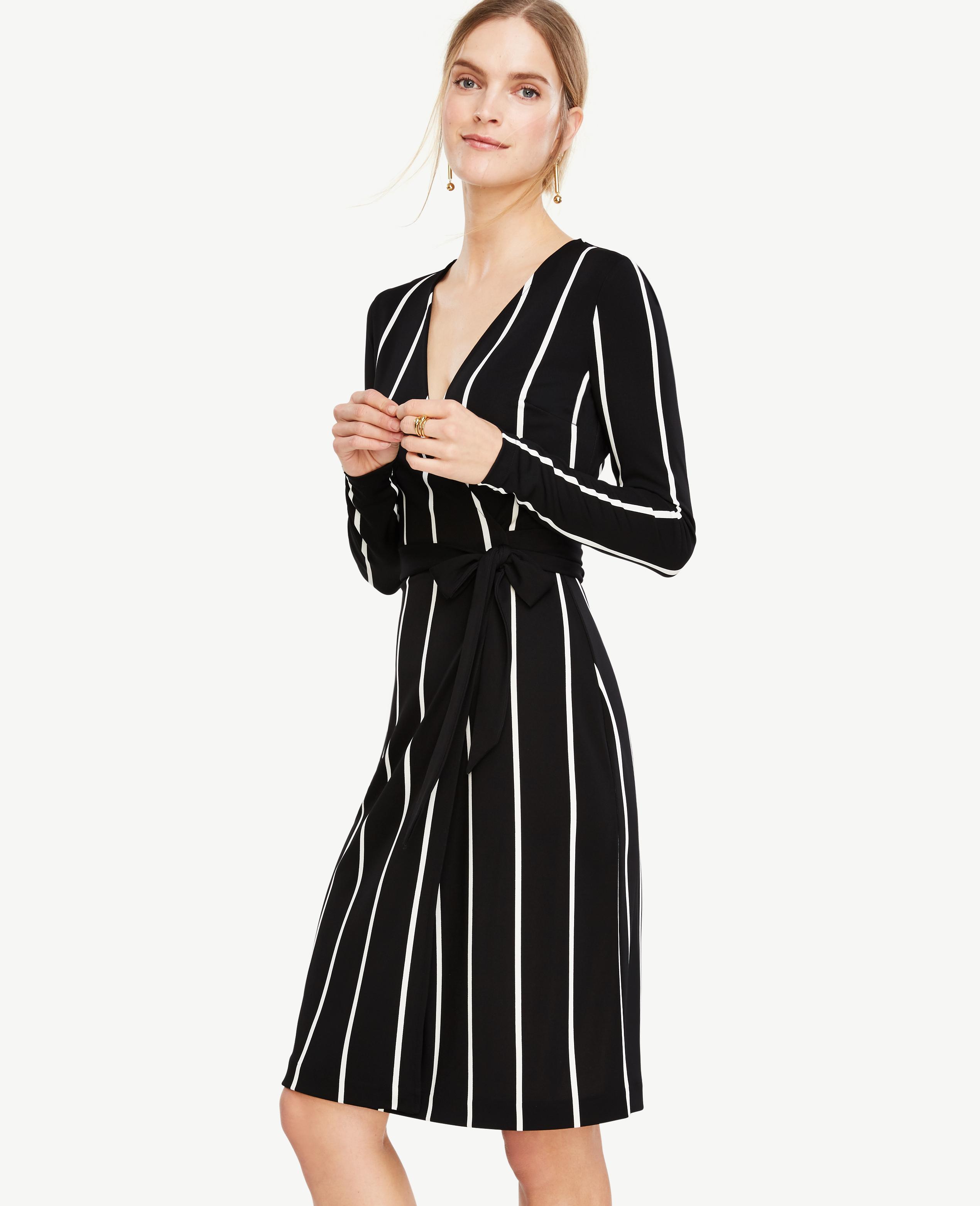 Ann Taylor Tall Stripe Matte Jersey Wrap Dress In Black Lyst