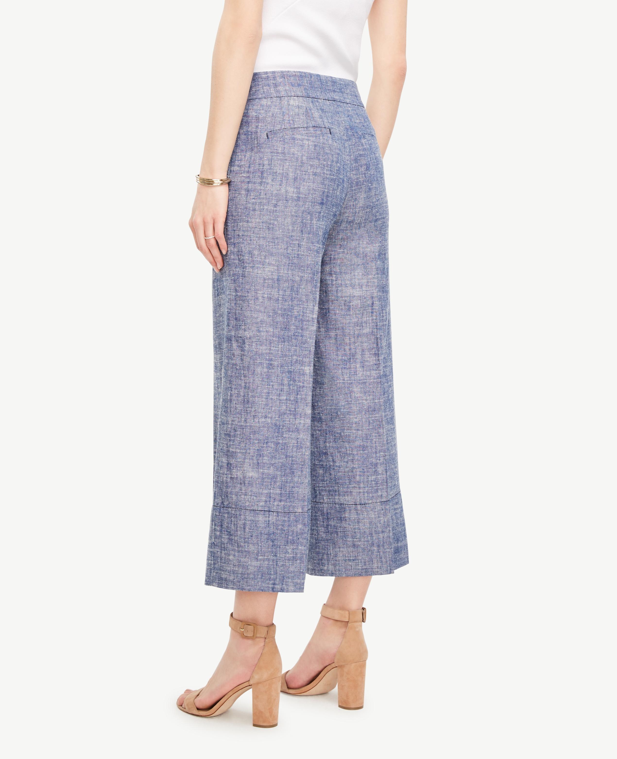Ann taylor the petite wide leg marina pant in blue lyst for Ann taylor loft fashion island