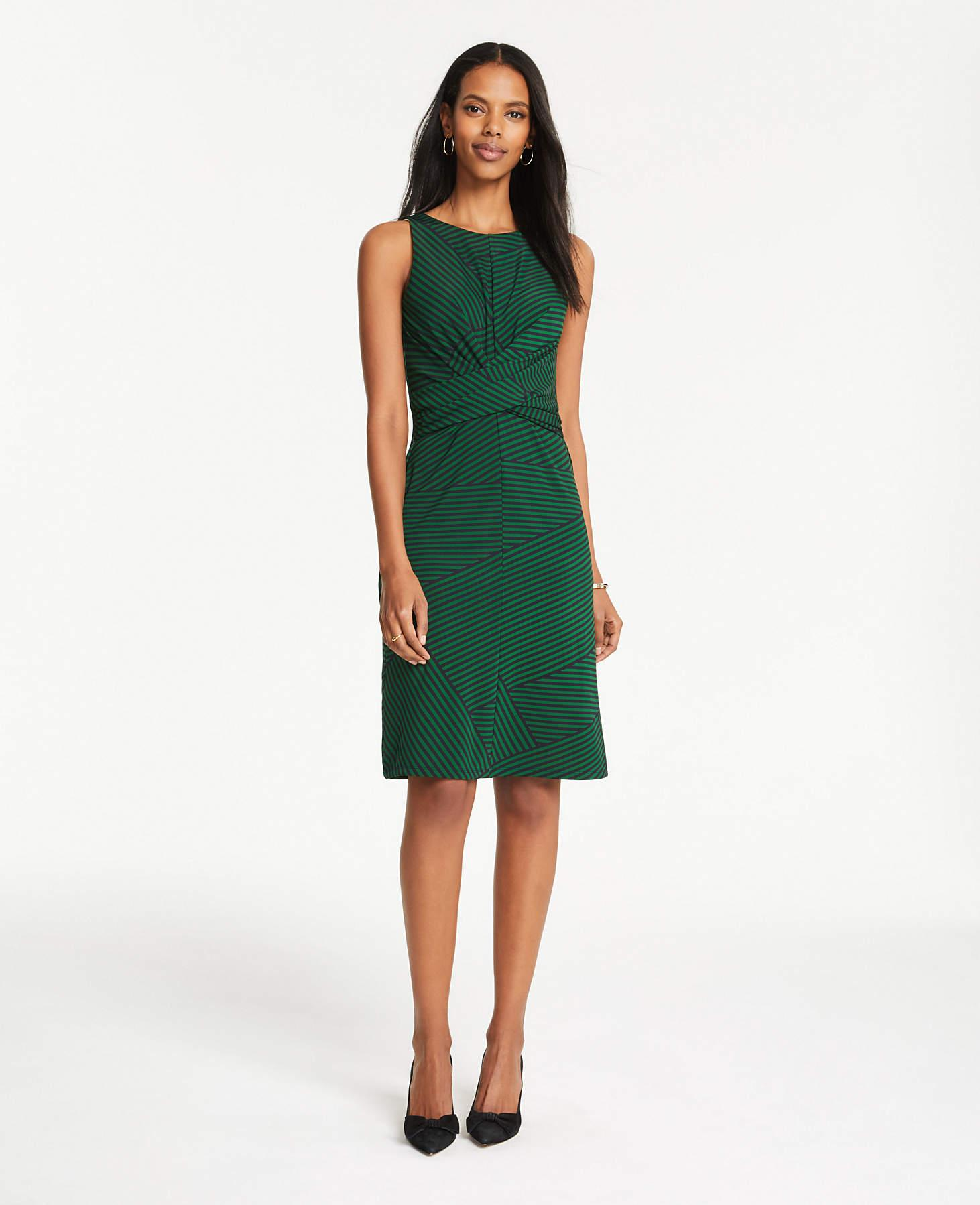 5bc3488376db Ann Taylor Patchwork Stripe Wrap Front Dress in Green - Lyst