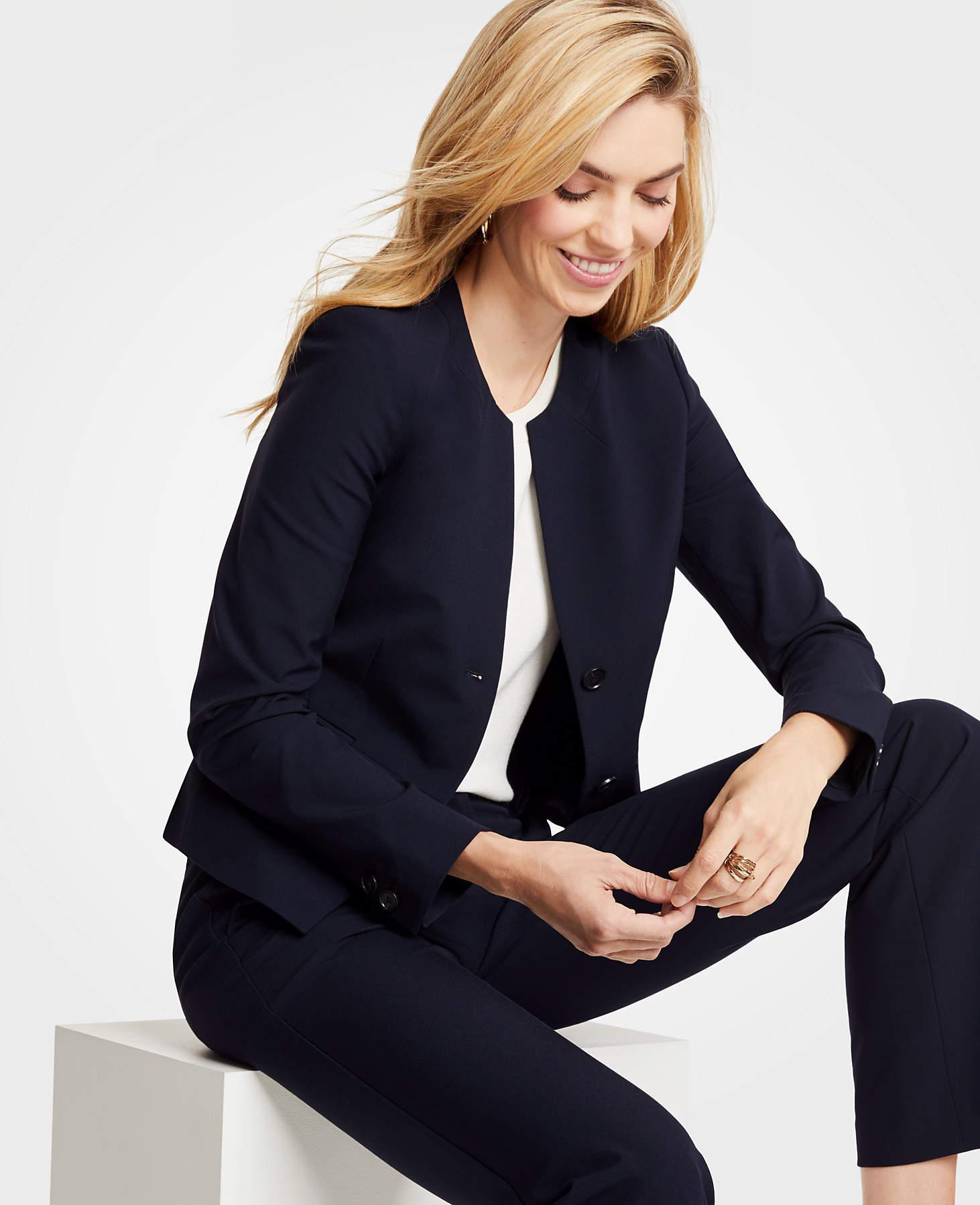 142fcb232 Ann Taylor Petite Seasonless Stretch Two Button Jacket in Blue - Lyst