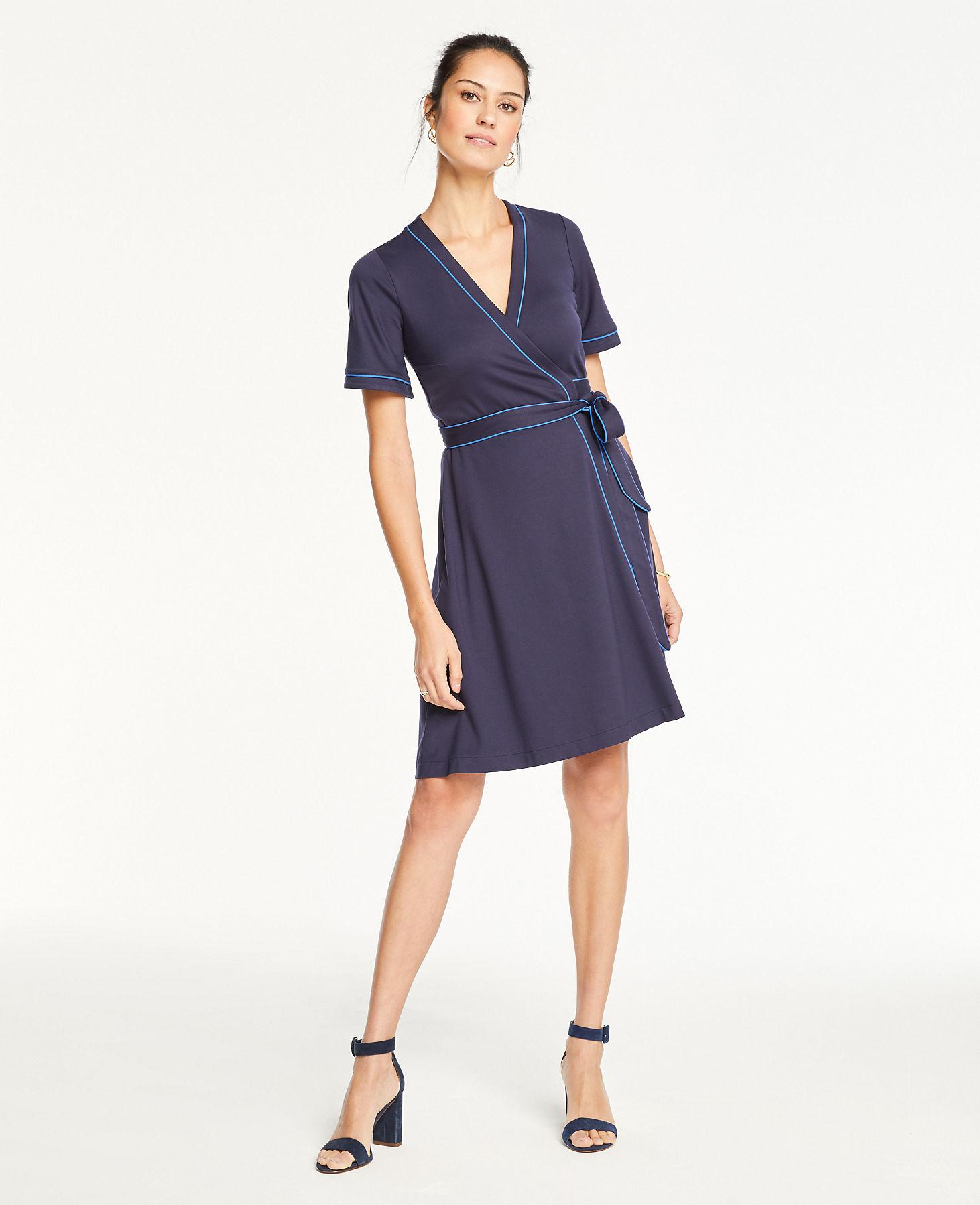 7cb7b3af59 ... Piped Flutter Sleeve Wrap Dress - Lyst. View fullscreen