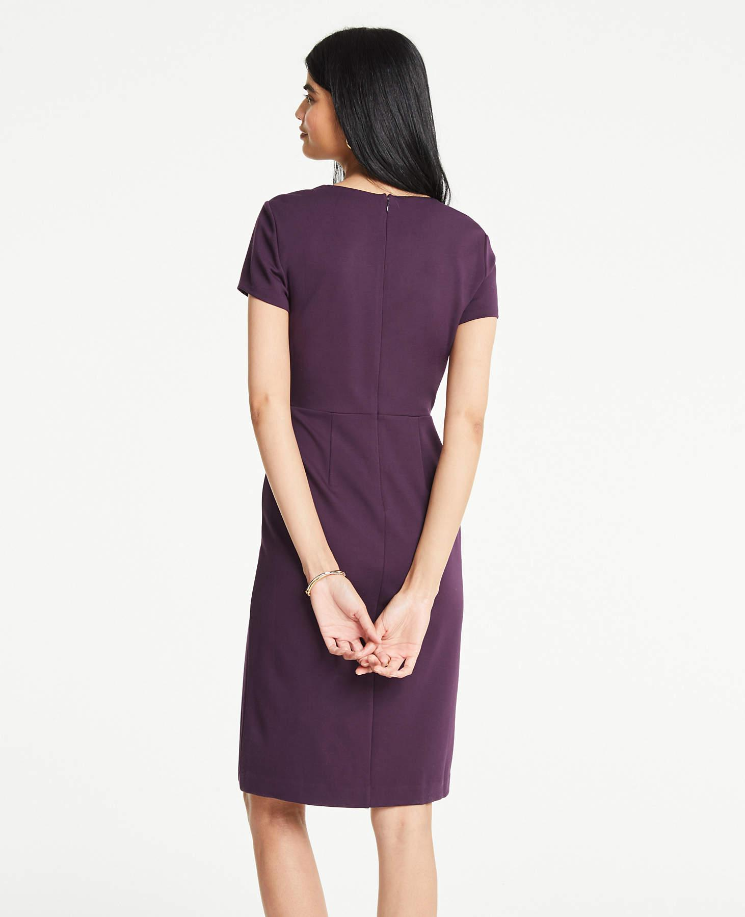 61d709b45644 Lyst - Ann Taylor The Petite All-day Ponte Dress In Colorblock in Purple