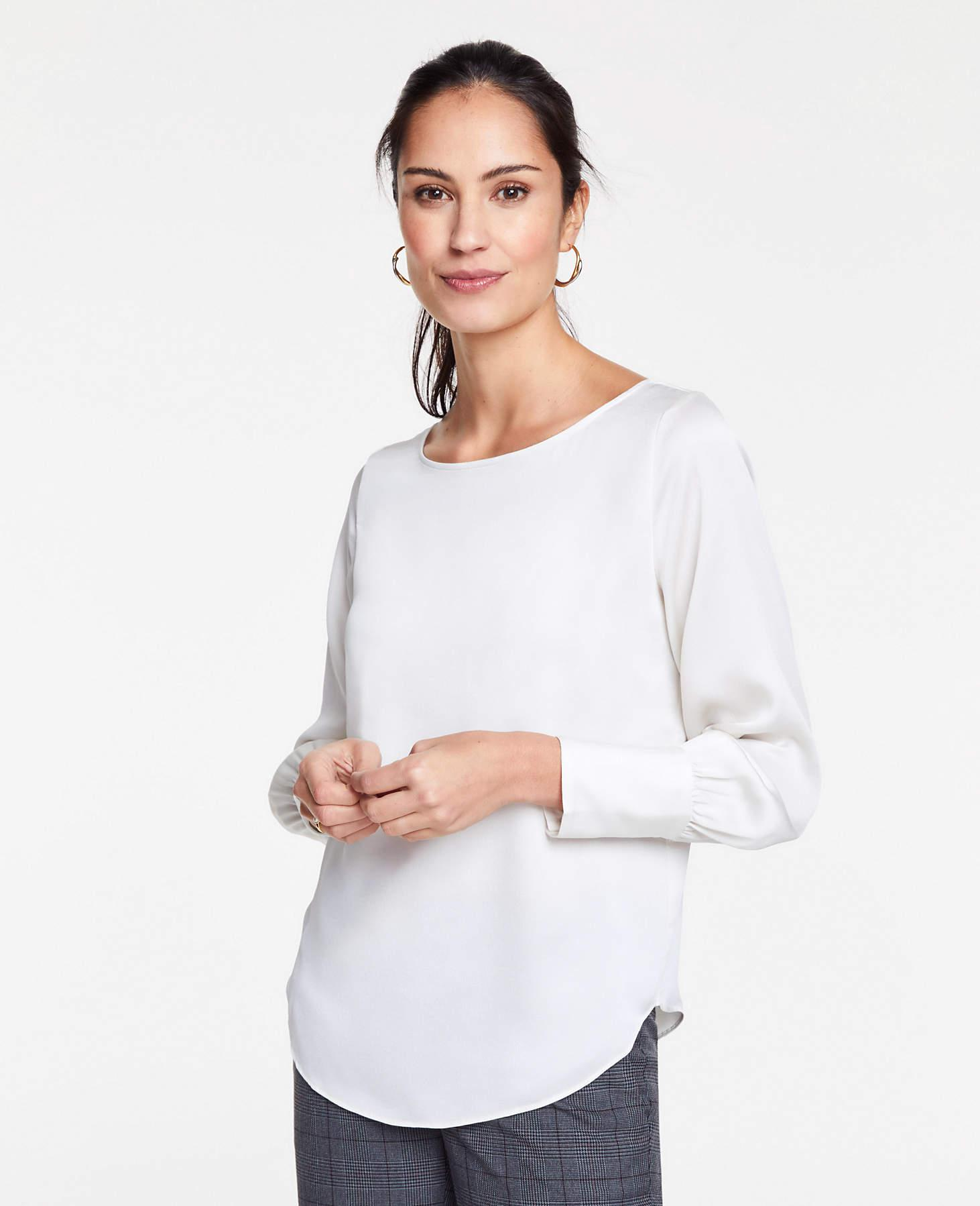 7a150431ac8c1d Lyst - Ann Taylor Boatneck Blouse in White - Save 17%