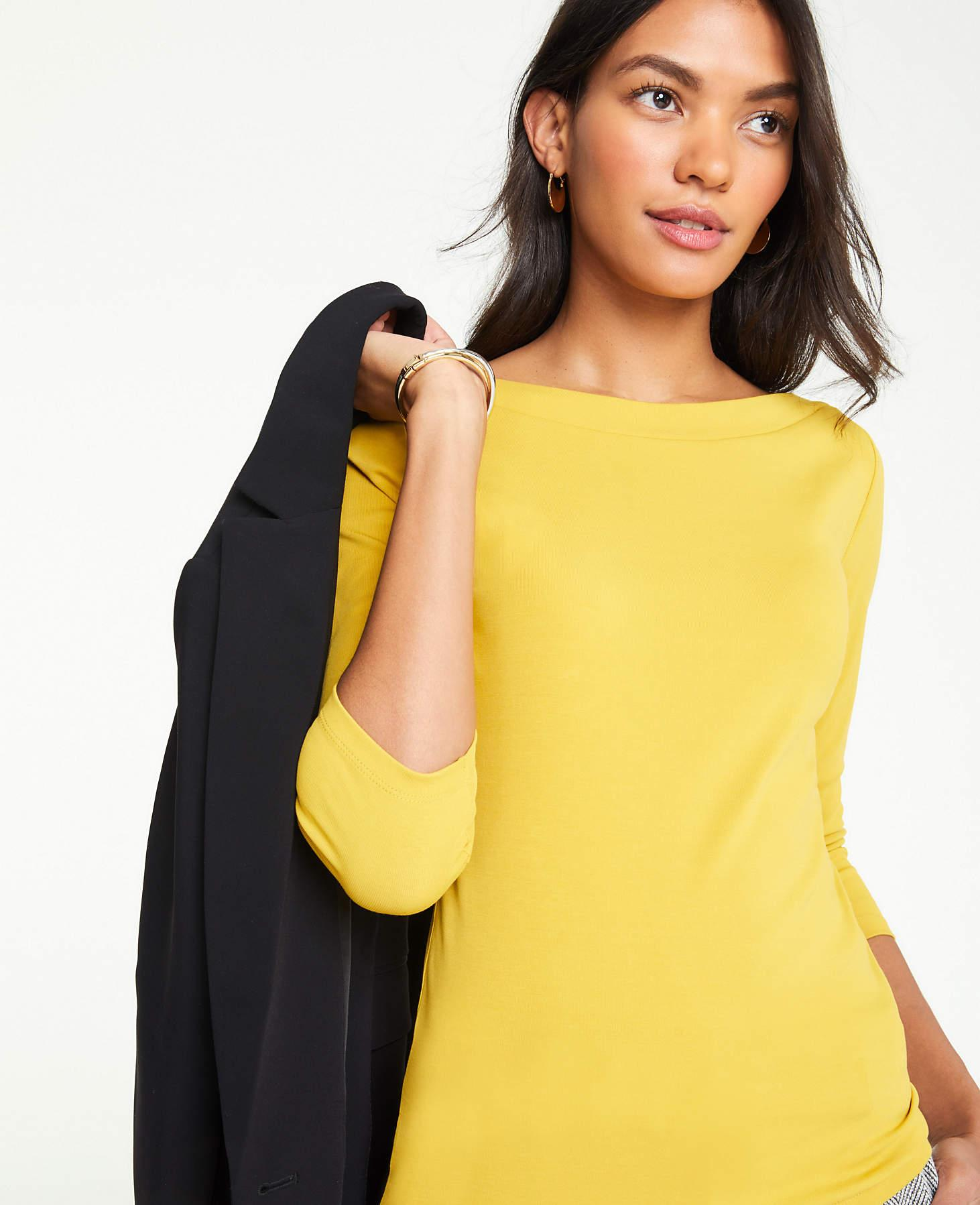 a021e25078 Ann Taylor Petite 3/4 Sleeve Boatneck Luxe Tee in Yellow - Lyst