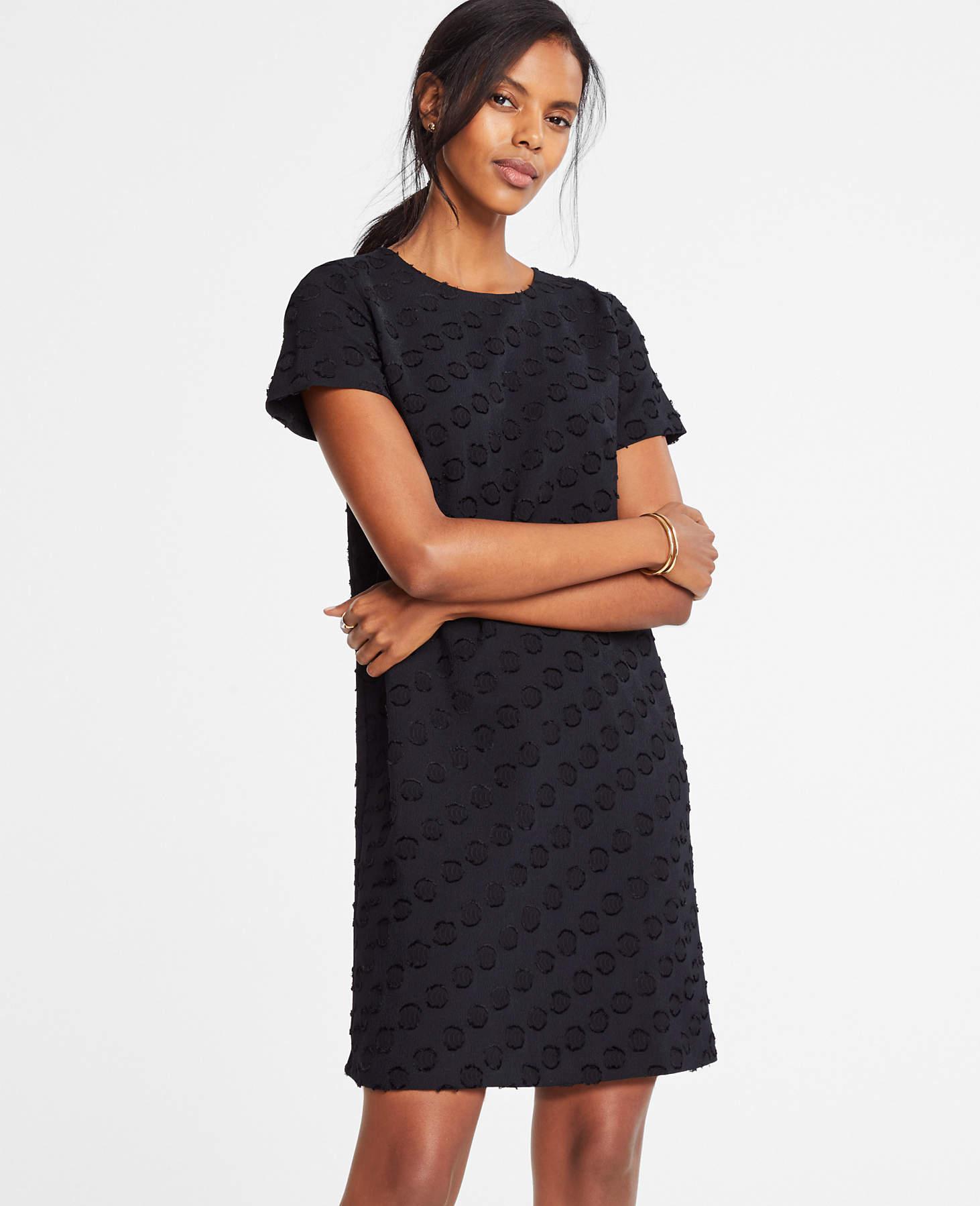 67e29d46c2ba Lyst - Ann Taylor Dot Jacquard T-shirt Dress in Black - Save 42%