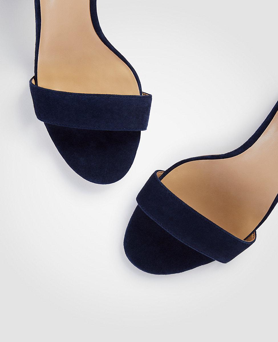 e74fab86a70794 Lyst - Ann Taylor Leannette Suede Leather Block Heel Sandals in Blue