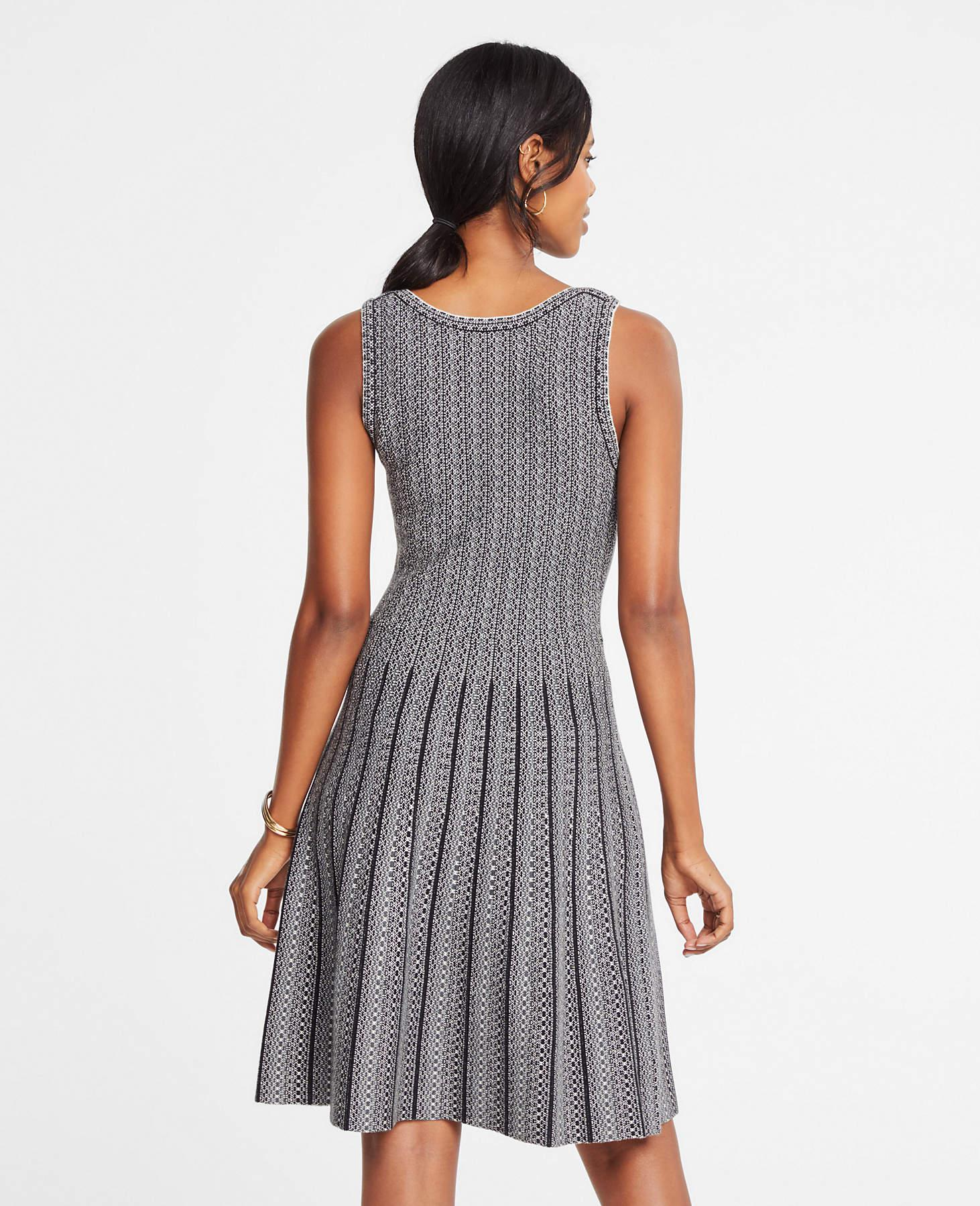 725664c2e16 Ann Taylor Jacquard Pleated Flare Sweater Dress in Gray - Lyst