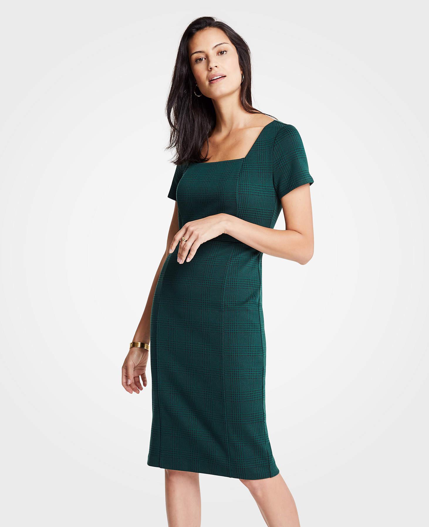 Ann Taylor Plaid Square Neck Sheath Dress In Dark Emerald