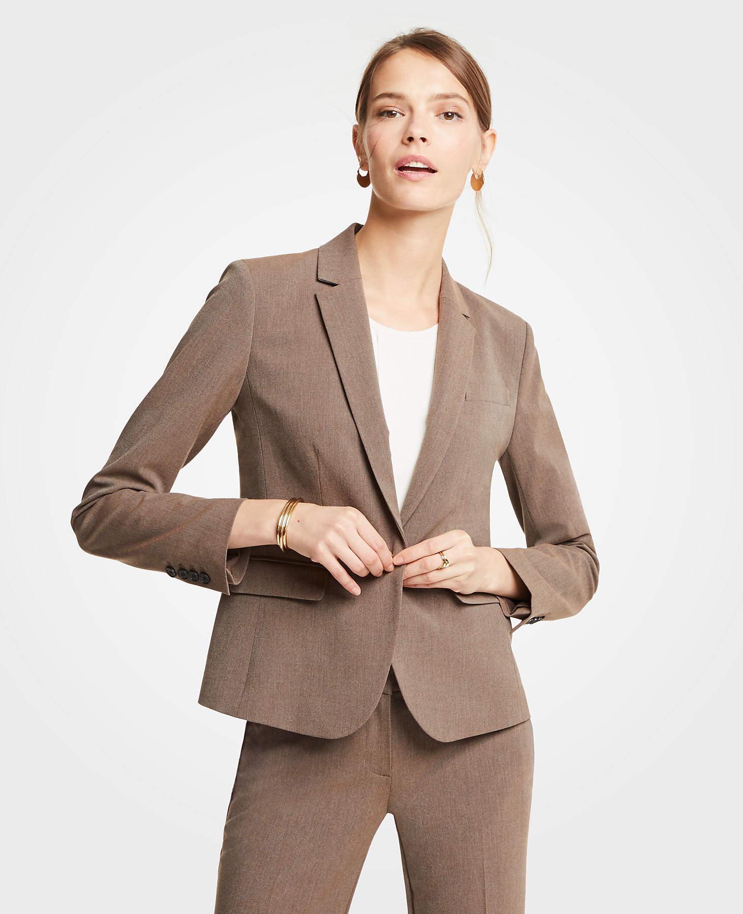 e755b901a Ann Taylor Petite Seasonless Stretch One Button Jacket in Brown - Lyst