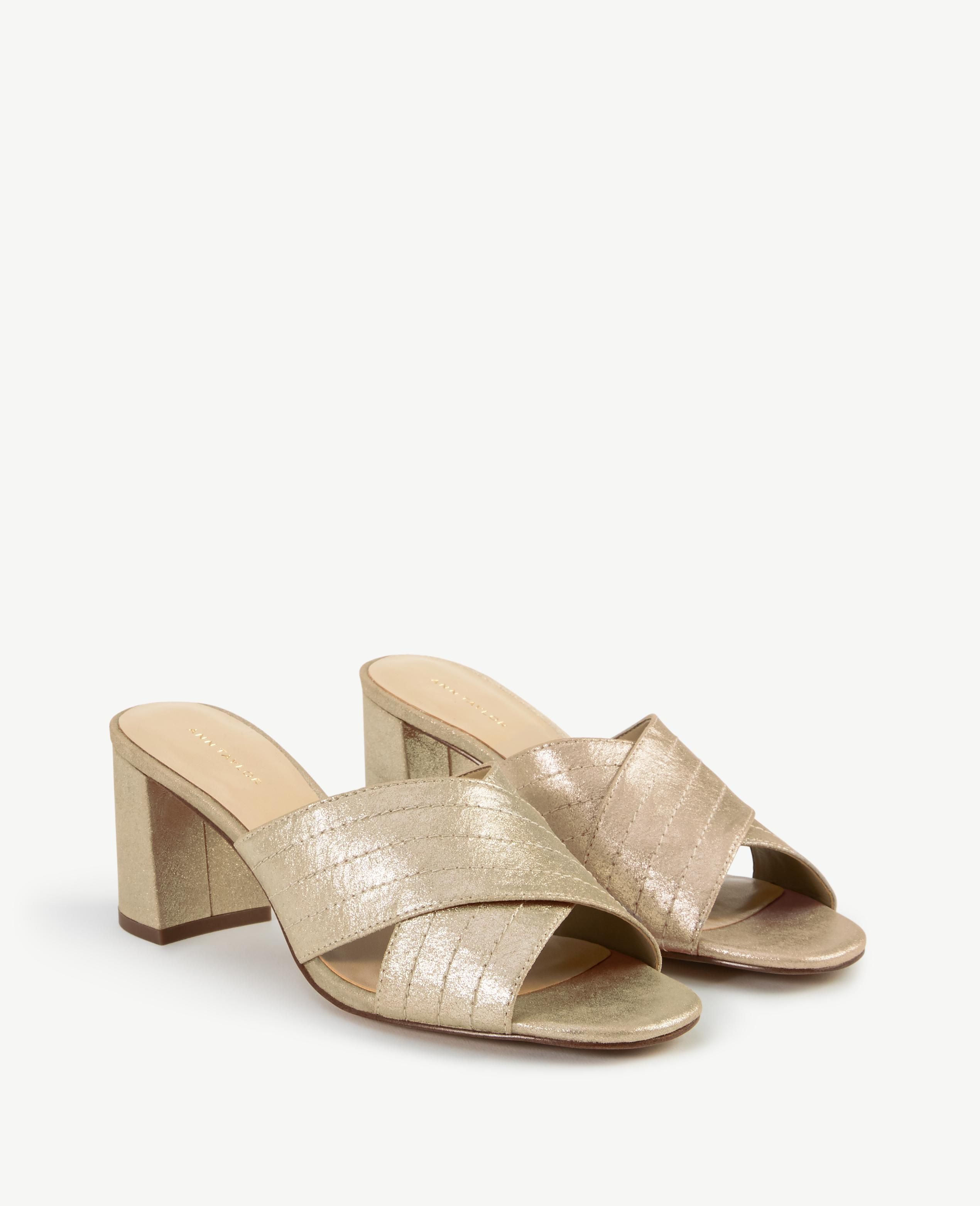 ANN TAYLOR Honor Metallic Leather Heeled Sandals IUyYJ7