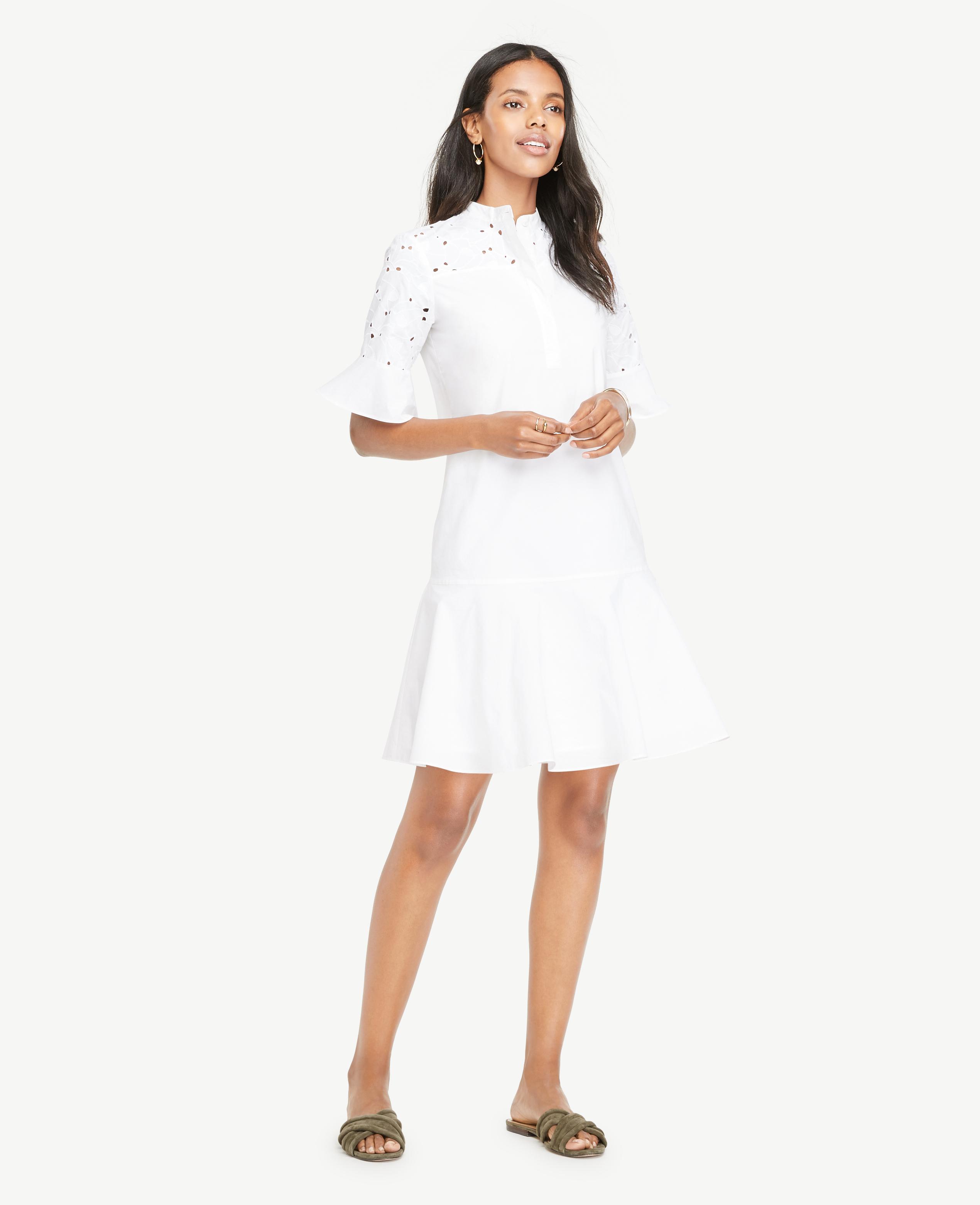 7ebdb9399272 Lyst - Ann Taylor Petite Eyelet Detail Flounce Dress in White