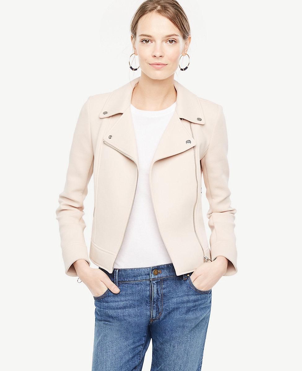 f508951249c9 Ann Taylor Twill Moto Jacket in Natural - Lyst
