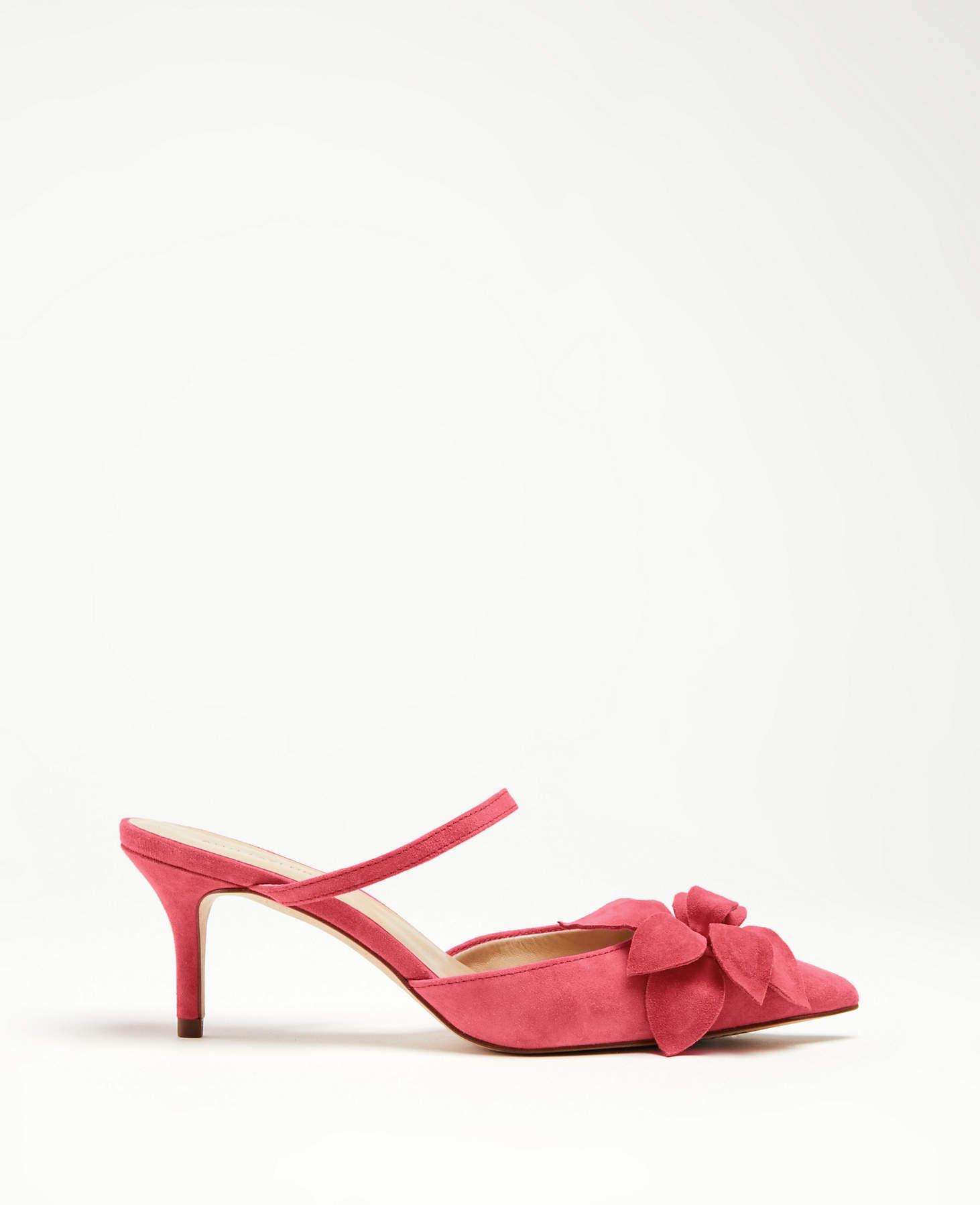 99748b1f4508 Lyst - Ann Taylor Celina Flower Suede Pumps in Pink