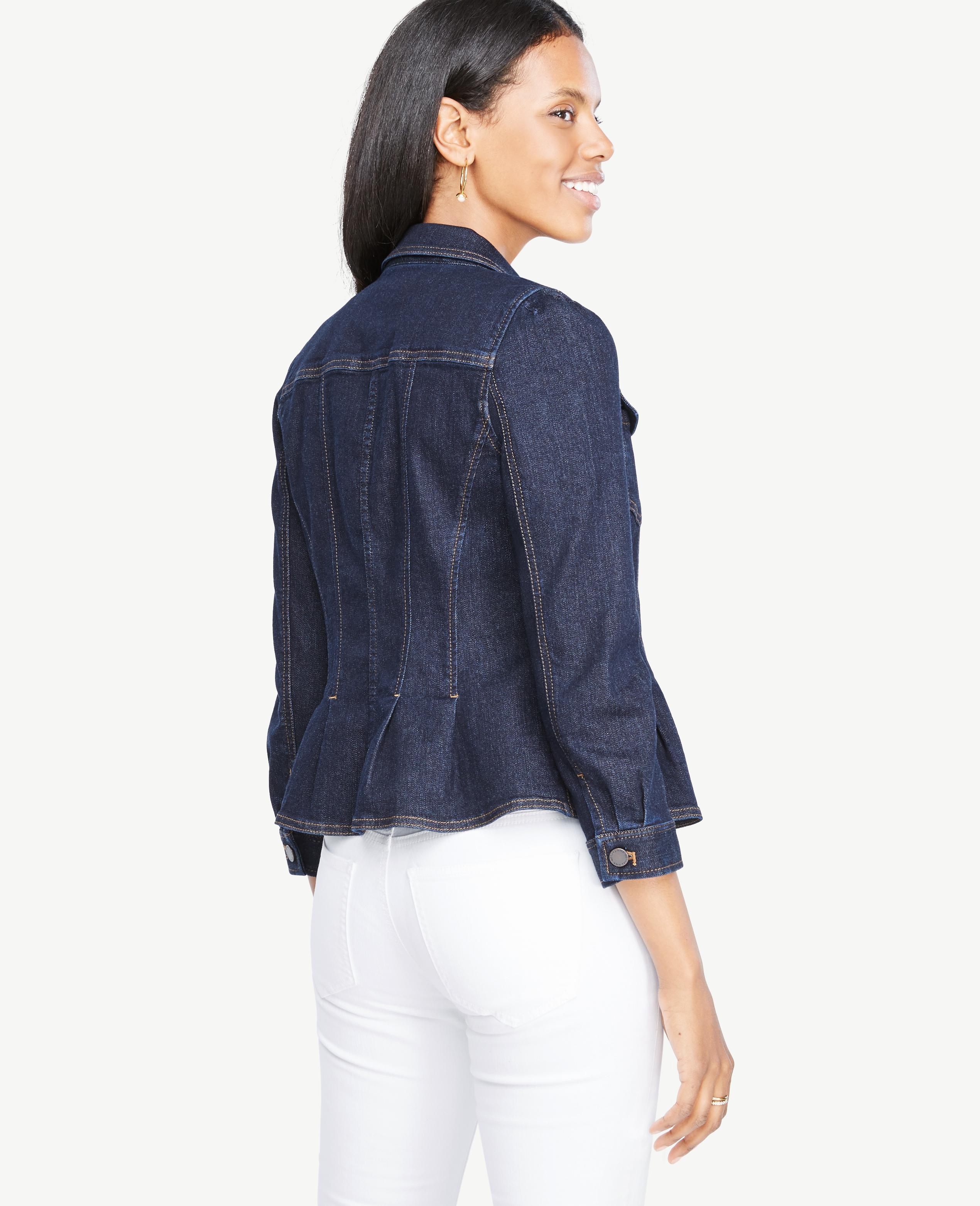 5fa6c451bdc Lyst - Ann Taylor Petite Denim Peplum Jacket in Blue