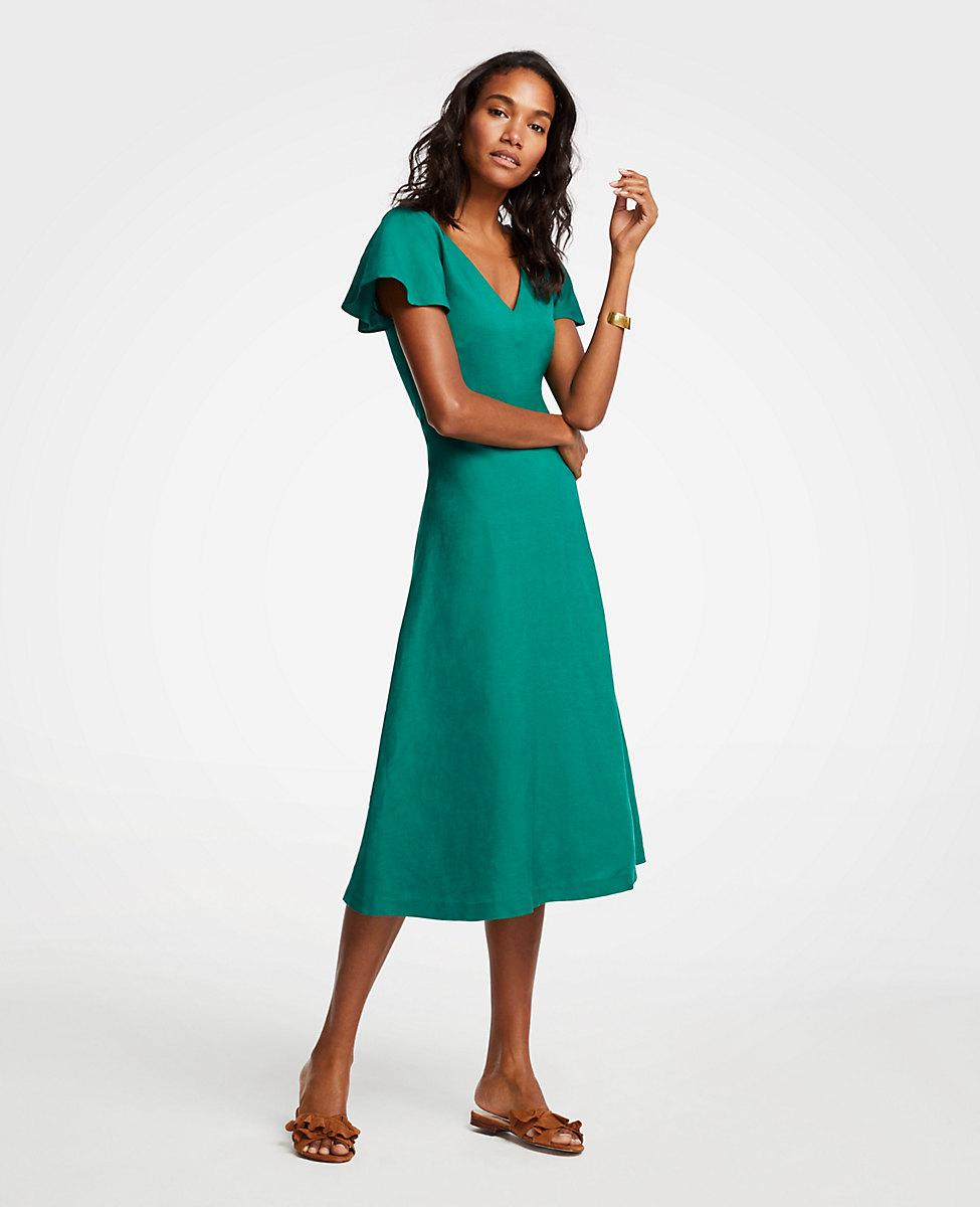 ca3f04f51a Lyst - Ann Taylor Petite Flutter Sleeve Linen Blend Midi Dress in Green