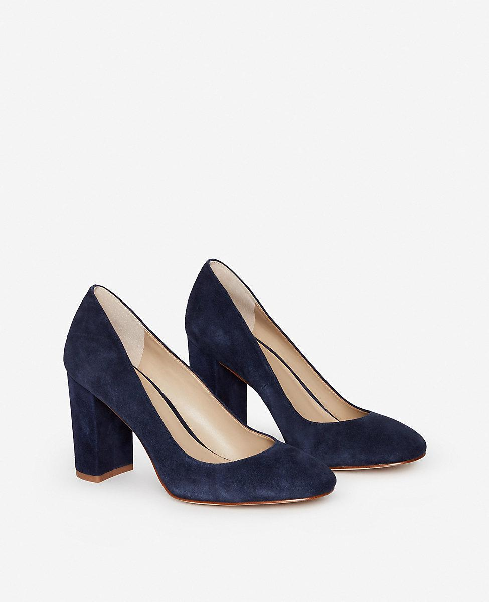 ed6f28a50c1 Lyst - Ann Taylor Emeline Suede Block Heel Pumps in Blue