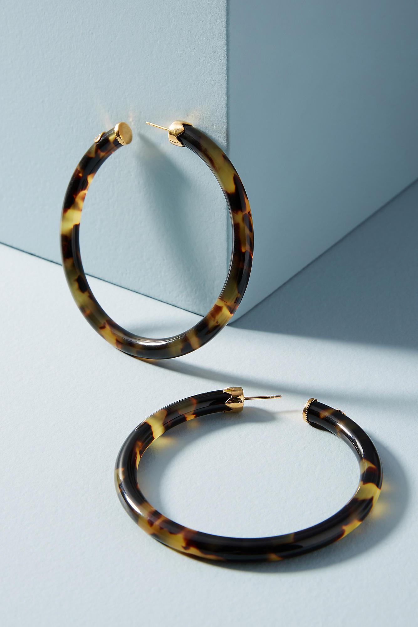 Gas Bijoux Thin Tortoise Hoop Earrings uVMoBKsXx6
