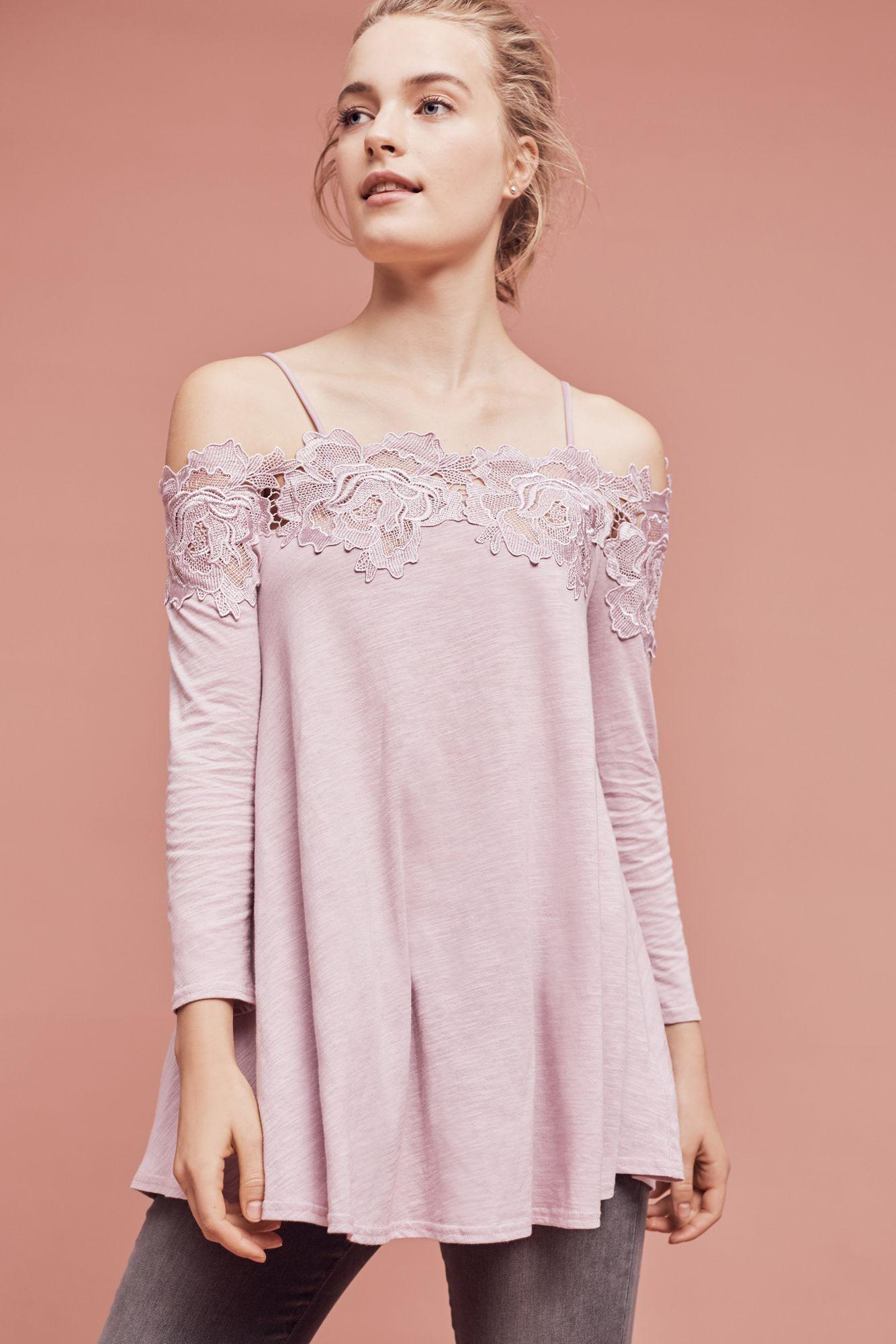cd98f134e4c Meadow Rue Laceline Off-the-shoulder Top in Pink - Lyst